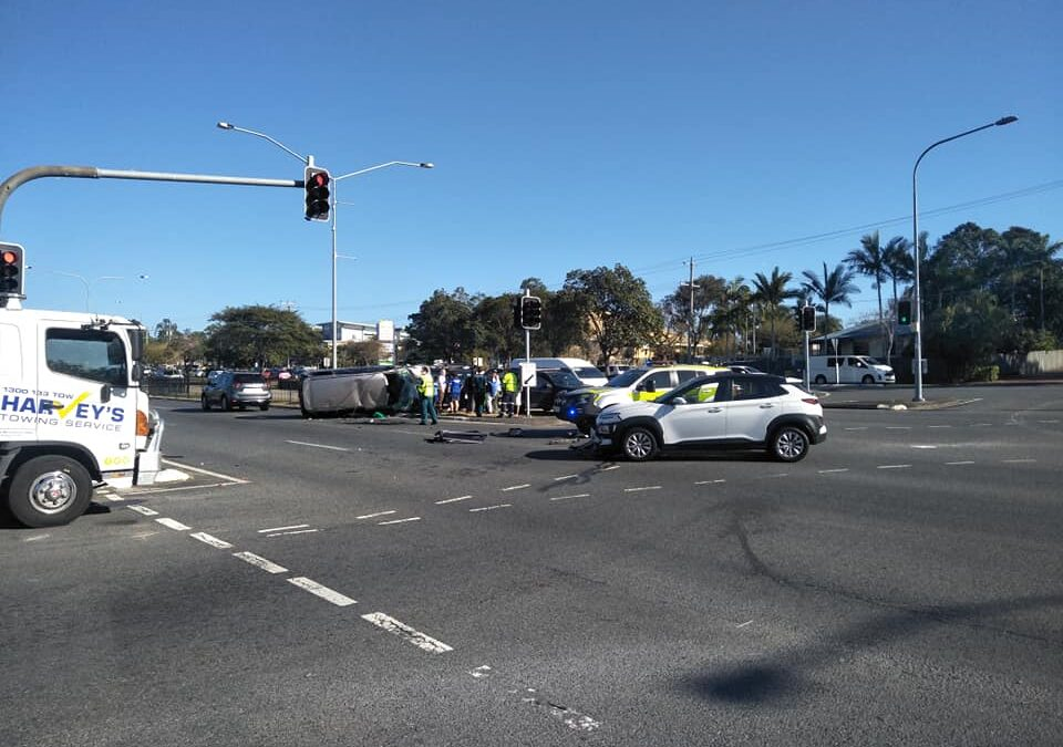 Two in hospital after two vehicle collision